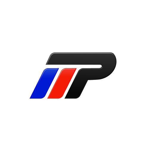 modèle de conception de logo lettre MP racing vecteur