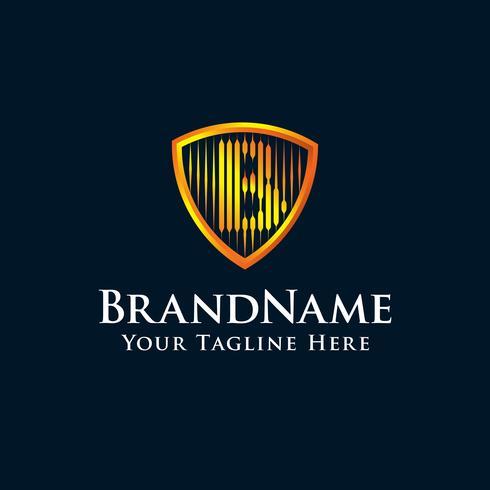 lettre initiale logo B bouclier avec couleur or vecteur