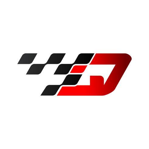 Lettre Q avec logo drapeau de course vecteur