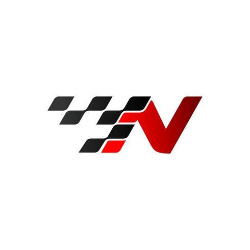 Lettre N avec logo drapeau de course vecteur