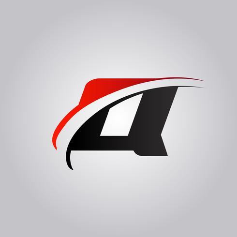 logo Q Letter initial avec swoosh de couleur rouge et noir vecteur
