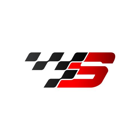 Lettre S avec logo drapeau de course vecteur