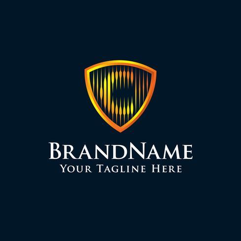 initiales logo C bouclier avec couleur or vecteur