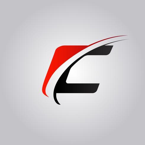 logo initial de lettre C avec swoosh coloré rouge et noir vecteur