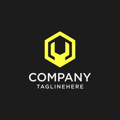 logo de réparation, logo clé hexagonale vecteur