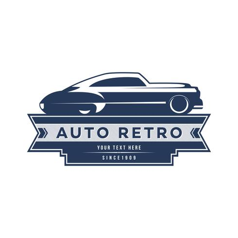 Conception de modèle de logo de voiture rétro, style logo vintage. vecteur