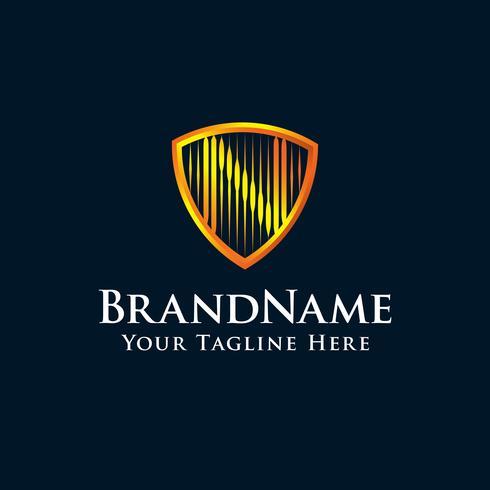 lettre initiale logo N bouclier avec couleur or vecteur