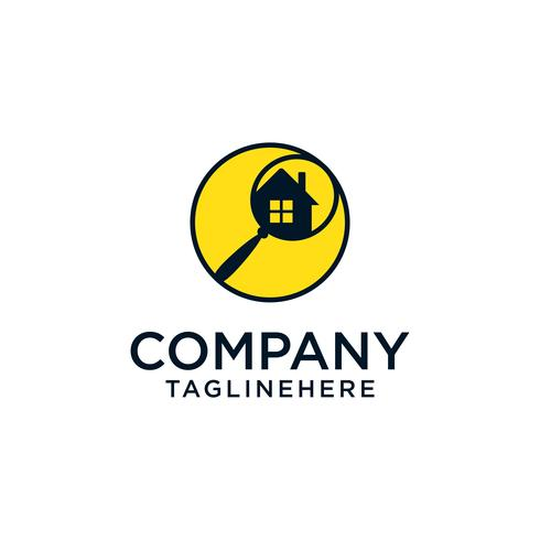 Home recherche logo - maison avec fenêtre et cheminée et loupe vecteur