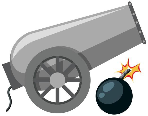 Un canon sur fond blanc vecteur