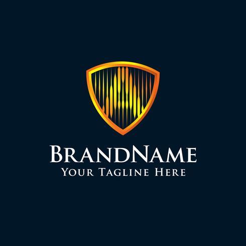 lettre initiale Un logo de bouclier avec la couleur d'or vecteur