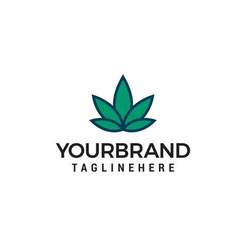 Style linéaire de modèle de vecteur de conception de feuille abstraite Logo.