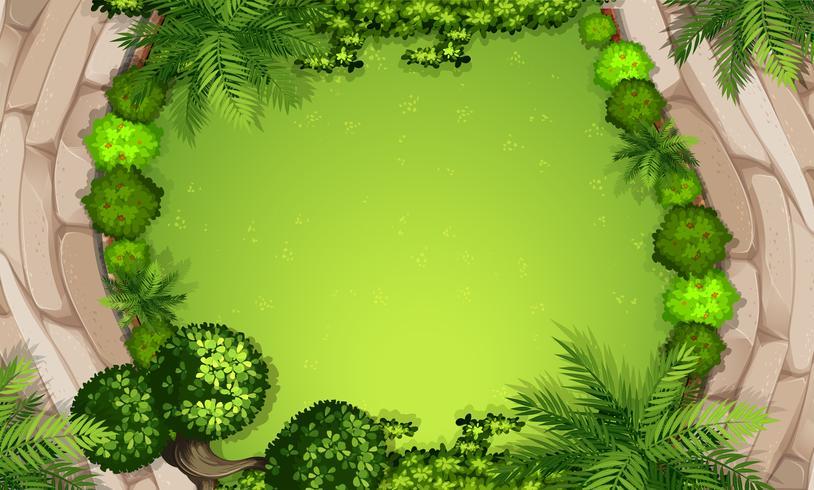 Une vue aérienne du jardin vecteur