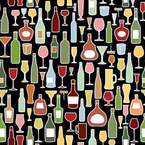 Bouteille de vin, motif de carreaux de verre à vin. Boire du vin fond de fête vecteur