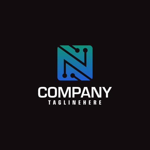 Logotype de vecteur technologique formant la lettre N. Dessin minimal