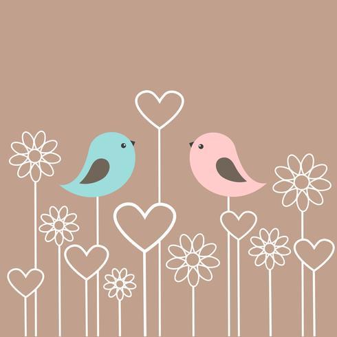 Couple d'oiseaux mignons avec des fleurs et des coeurs vecteur