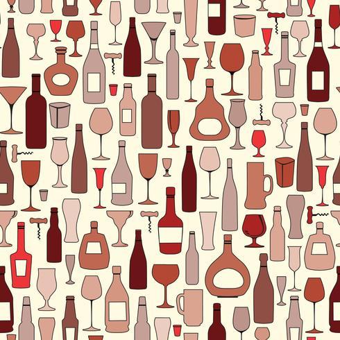 Bouteille de vin et modèle sans couture de verre à vin. Boire du vin fête b vecteur