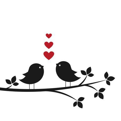 Silhouettes oiseaux mignons dans l'amour vecteur