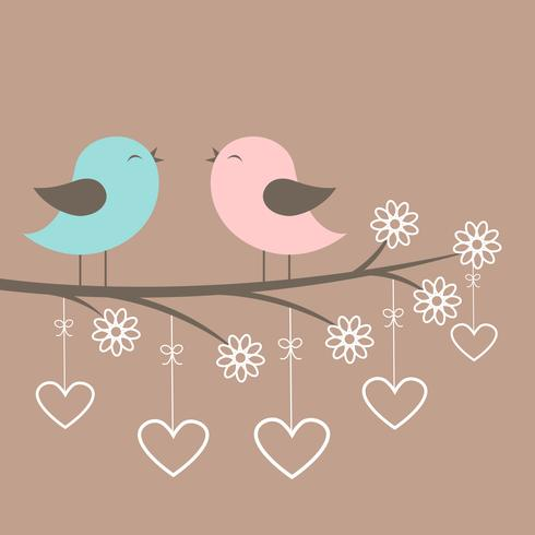 Couple d'oiseaux mignons chantent vecteur