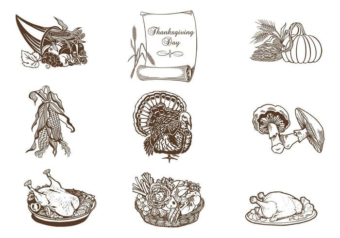 Pack de vecteur de Thanksgiving dessiné à la main