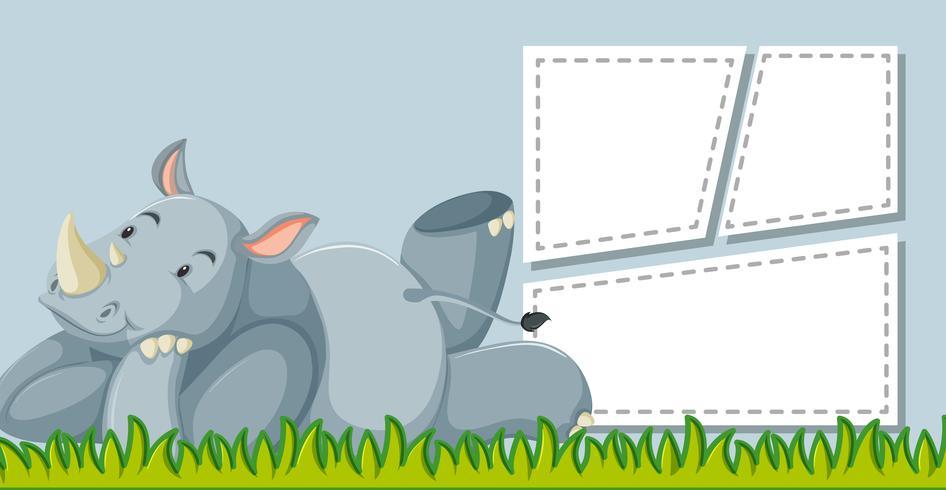 Rhinocéros sur modèle de note vecteur