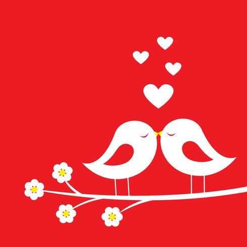 Le baiser des oiseaux - carte romantique pour la Saint-Valentin vecteur