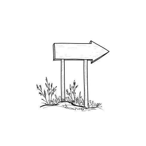 Signe de la route en bois. Panneau de planche dessiné à la main. Panneau extérieur vecteur