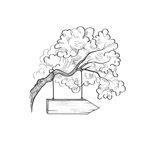 Poteau indicateur de flèche sur la branche d'arbre. Panneau de signalisation en bois Doodle. Plan vecteur