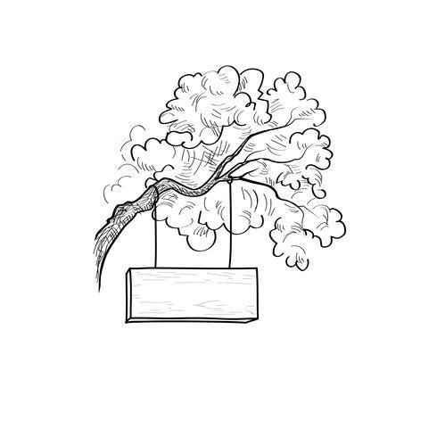 Panneau de signalisation en bois sur une branche d'arbre. Panneau de gravure rétro vecteur