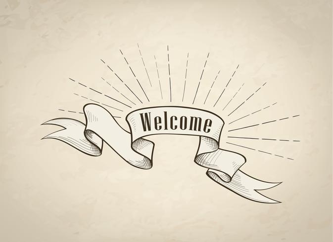 Bienvenue signe sur ruban, fond rétro. Bannière Vintage doodle vecteur