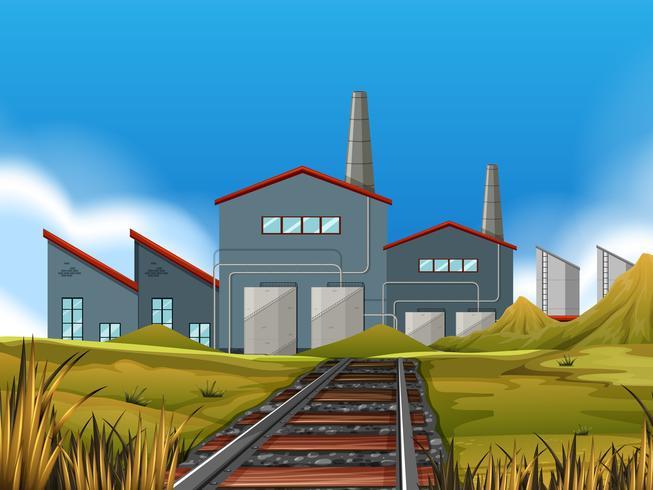 Une usine dans la scène de la nature vecteur