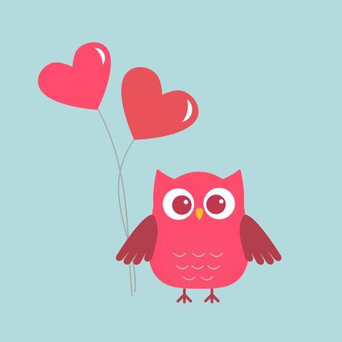 Hibou mignon avec des coeurs-ballons roses vecteur