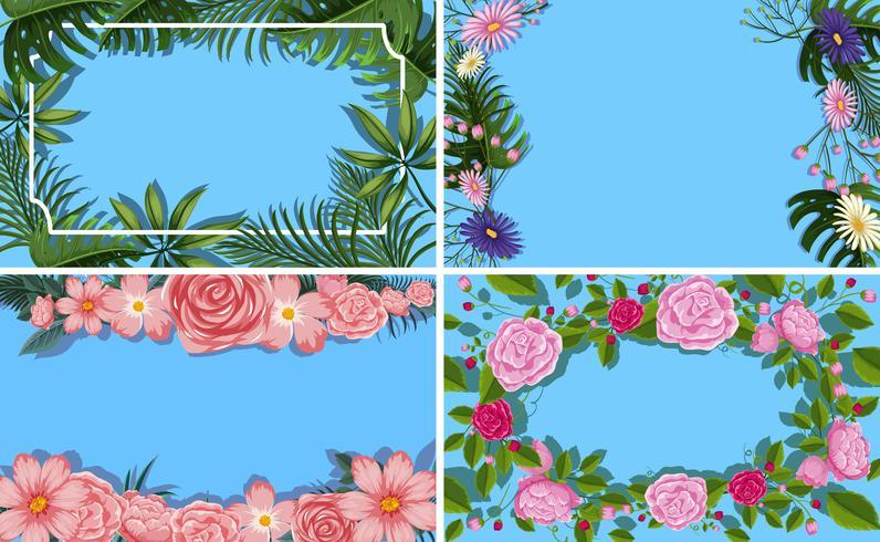 Un ensemble de bordure de feuille de fleur vecteur