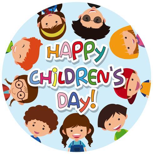 Icône de jour des enfants heureux vecteur
