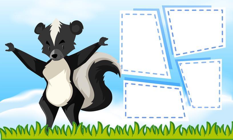 Un modèle de skunk sur une note vecteur