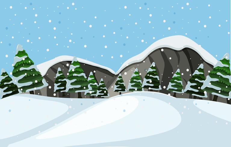 Un paysage d'hiver en plein air vecteur