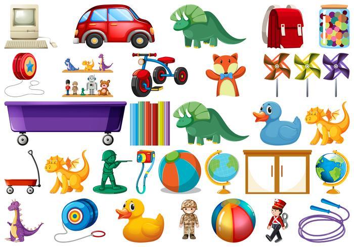 Ensemble de jouets pour enfants vecteur
