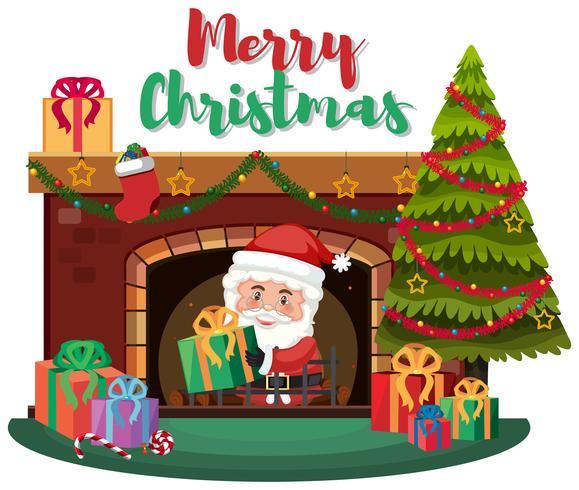 Cadeau de livraison du Père Noël par cheminée vecteur