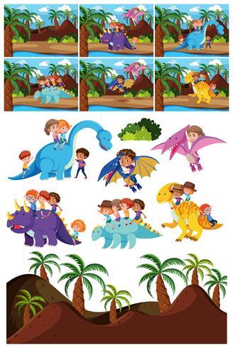 Ensemble de personnage de dinosaure et scène vecteur