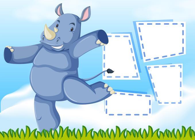 Un modèle de rhinocéros sur une note vecteur