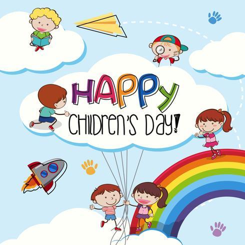 Modèle de jour des enfants heureux vecteur