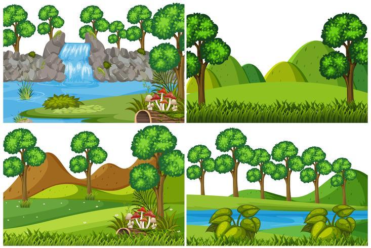 Ensemble de paysage naturel vecteur