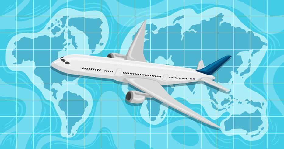 Un avion survolant la carte du monde vecteur