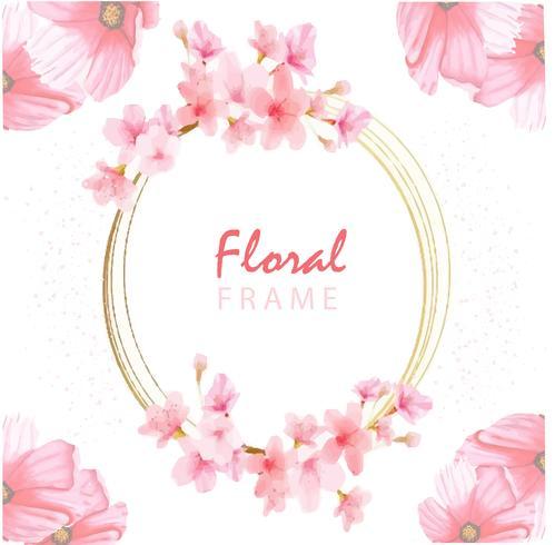 Cadre Floral Rose vecteur