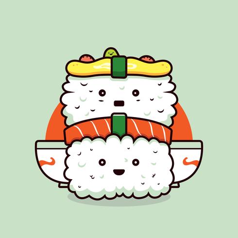 Vecteur Kawaii Sushi