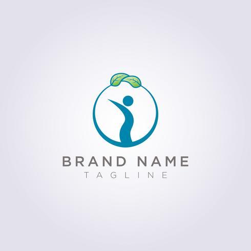 Concevez un logo de cercle avec des feuilles et des personnes dans le cercle pour votre entreprise ou votre marque vecteur