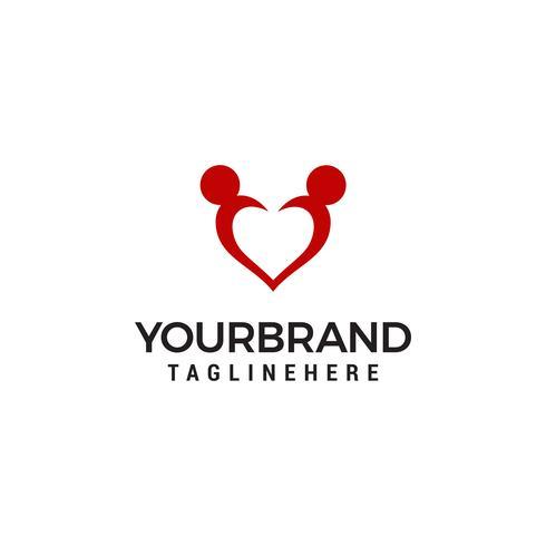 Icône d'amour Logo d'adoption et de soins communautaires Logo vecteur
