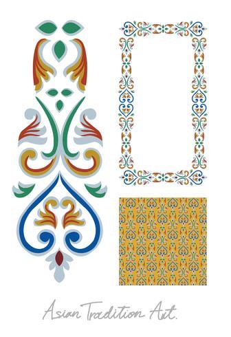 Collection d'art de style tradition asiatique vecteur