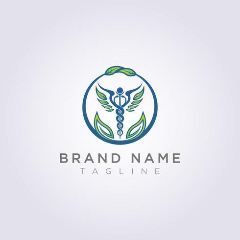Concevez un logo avec une combinaison de cercles, de feuilles et de symboles de santé pour votre entreprise ou votre marque vecteur