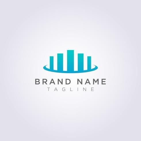 Création de logo à partir d'un symbole d'histogramme combiné avec une couronne pour votre entreprise ou votre marque vecteur