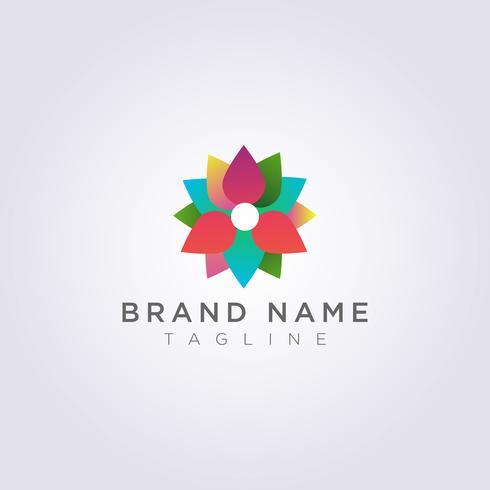 Création de logo de fleurs abstraites et colorées pour votre entreprise ou votre marque vecteur
